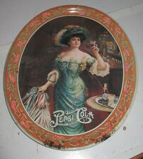 Vintage Pepsi Cola Tin Serving Tray W/ Victorian Lady at Bar Drinking 5 c Oval