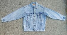 Vintage Levis Acid wash Blue Denim Jean Trucker Jacket USA Made size Large 22x26