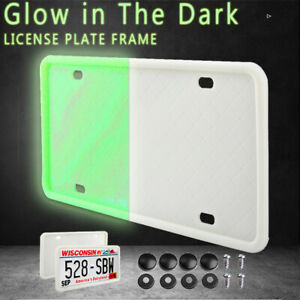 Universal Silicone White License Plate Frame Holder Can Glow in The Dark for Car