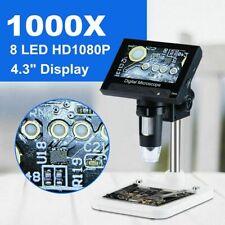 Microscopio Electrónico Digital USB 1000 X 2.0Mp Lupa de 4.3 Pulgadas de Pantalla LCD