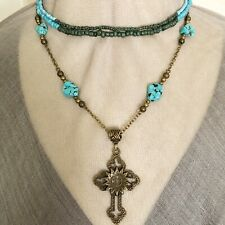 "Necklace Cross Pendant Turquoise Set W Beaded 16"" 18"" Artisan Handmade USA 1681"