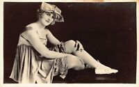 Studio Real Photo Postcard Risqué Woman Flapper Girl Ballet Shoes Bathing~127496