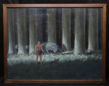 Roland DELBOSCO (1926) Siegfried pastel Roland André Pont-Audemer Edda Sigurd