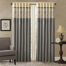 New Madison Park 50x84 Serene Embroidered Window Curtain Panel Yellow