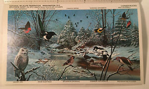 1973 NATIONAL WILDLIFE FEDERATION Christmas Wildlife Stamp Book by Charles Frace