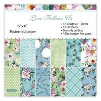 12x Flower Paper Pad Single-sided Scrapbooking Journal Photo Album Card Craft
