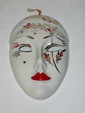 Capodimonte Face Mask Hand  Painted Ceramic Wall Plaque Red Gold Faux Jewels