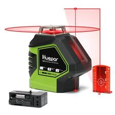 Huepar 621CR Niveau Laser Croix Rouge avec 2 Points Laser, Ligne Horizontale