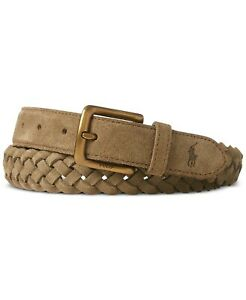 $70 NWT Polo Ralph Lauren Men's Braided Suede Belt Bamboo Size 42