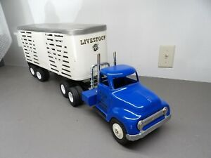 1950's Tonka Custom Livestock Tractor/Trailer Toy Truck, Pressed Steel