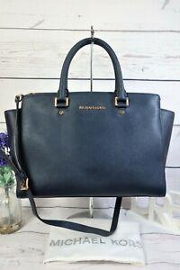 """MICHAEL KORS """"Selma"""" Shoulder Satchel Grab Bag Large Blue Leather ~ Dust Bag ~EX"""