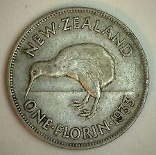 1933 Silver New Zealand 1 Florin 2 Shilling Coin XF