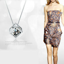 Magic Cube Zircon Rhinestone Pendant Necklace DIY Jewelry Making Silver Plated