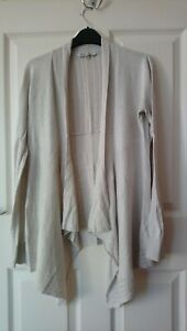 Fat Face Drape Cardigan Size 12 Natural Cream Ivory Cotton with embroidery