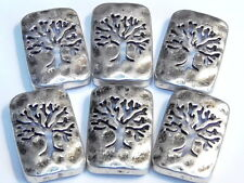 6 - 2 HOLE SLIDER BEAD ANTIQUED SILVER HAMMERED TREE OF LIFE CUT OUT SILHOUETTE