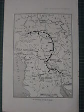 1916 WWI WW1 PRINT ~ MAP CONVERGING ATTACK ON SERVIA MONTENEGRO USKUB
