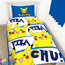 POKEMON PIKACHU REVERSIBLE SINGLE DUVET SET COVER QUILT BEDDING CHILDREN KIDS