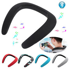 Stereo Bluetooth Wireless Neckband Neck Speaker 3D Surround for iOS Android New