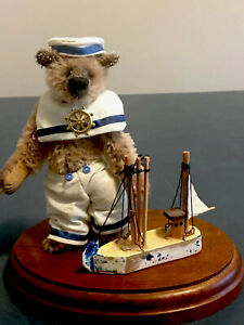 "Adorable 4"" Sailor Bear With Boat And Base Diane Bester Gizmo Bears"