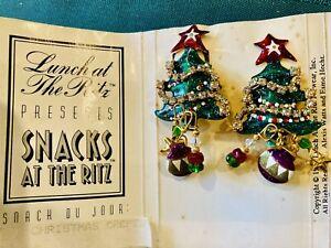 LUNCH At The RITZ Christmas Designer  Earrings Clip-On, VTG  1992, Original Card