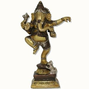 Ganesh Statue tanzend Figur Metall 16 cm 0,9 KG Indien Ganesha Ganpati Messing