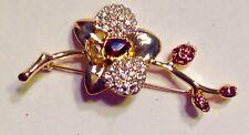 Pin Brooch Flower Amber Clear Rhinestones Gold Vintage
