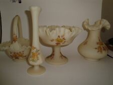- 4 Pieces Fenton Art Glass Colection  Hand  Painted  and Signed by Artists-B.C.