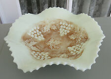 "1914 Northwood GRAPE AND CABLE Ruffled 7.25"" Bowl*Nutmeg Stained Custard Glass"