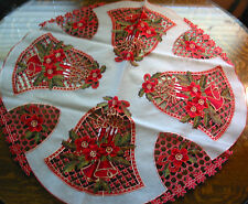 Christmas Embroidered Tablecloth Cut Work Bell Poinsettia 35.5Rd Red White New