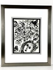 """Marc Chagall 1960 Original Lithograph """"Couple Beside Tree"""" Framed"""