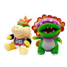 2pcs Super Mario Bros Petey Dino Piranha Puppet&Bowser Jr. Koopa Plush Doll Toy