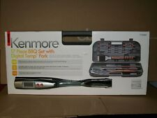 KENMORE 17 PC BBQ SET w/DIGITAL TEMP FORK & CARRYING CASE