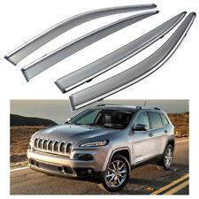4Pcs Car Window Visor Vent Shade Deflector Sun/Rain for Jeep Cherokee 2014-2018