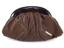 Braccialini Brown Leather Sequin Embroidery Women's Shoulder Clutch bag, small