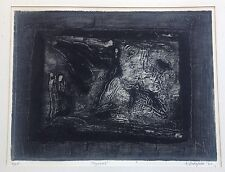 SIGNED 1962 FRIEDA VREDAPARIS Surrealist Collagraph Print LAZARUS #2 of 25 LTD.