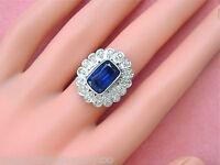 ANTIQUE ART DECO .96ctw DIAMOND 5ct SYN BLUE SAPPHIRE FLOWER COCKTAIL RING 1930