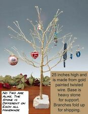 "Brass Ornament/Jewelry Tree,  24"" Tall, No Two are Alike, Heavy Stone Base"