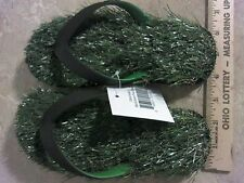 XS (US 4-6) Grass Flip Flops Green/Black Comfortable Unisex Shoes Kids Women Men