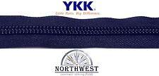 YKK Nylon Coil Zipper Tape #10 Navy 1 yard with 2 Nickle Zipper Sliders