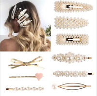 Luxury Women Pearl Hair Clip Snap Barrette Stick Hairpin Bobby Hair Clips Gift