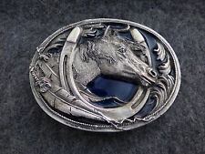 Horse and Horse Shoe Solid Pewter Vintage 1995 Siskiyou Belt Buckle