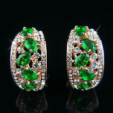 18k rose Gold plated with Swarovski elements green crystals earrings