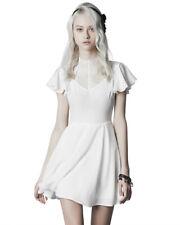 Punk Rave Gothic Mini Dress White Floral Lace VTG Steampunk Victorian Summer