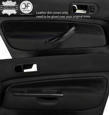 BLACK & BLACK 2X FRONT DOOR CARD LEATHER COVERS FOR VW GOLF MK4 98-05 5 DOOR