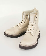 New BRUNELLO CUCINELLI Woman's Beige Leather Ankle Boots Shoes Size 41/11 $1895