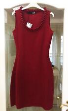 Love Moschino dark red fitted dress wool ruffled scoop neck size 42 UK 10-12 M