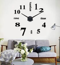 DIY Large Wall Clock 3D Mirror Surface Sticker Home Decor Home Office Easy Fixed