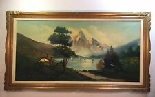 "1950's-60's Vintage Oil Painting 25""X 45"" ( Singned )"