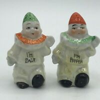 Vintage Lusterware Clown Salt & Pepper Shakers Made in Japan I'm Salt I'm Pepper