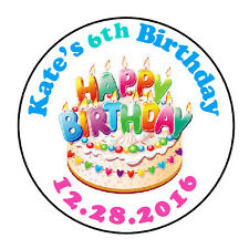 """24 PERSONALIZED HAPPY BIRTHDAY CAKE FAVOR LABELS ROUND STICKERS 1.67"""" *"""